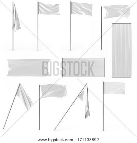 White advertising textile flags and banners set. Advertising flag banner and fabric canvas poster for your design projects, 3d rendering