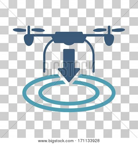 Drone Landing icon. Vector illustration style is flat iconic bicolor symbol cyan and blue colors transparent background. Designed for web and software interfaces.
