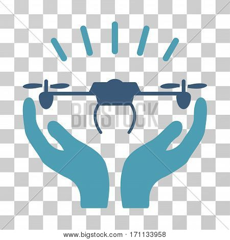 Drone Launch Hands icon. Vector illustration style is flat iconic bicolor symbol cyan and blue colors transparent background. Designed for web and software interfaces.