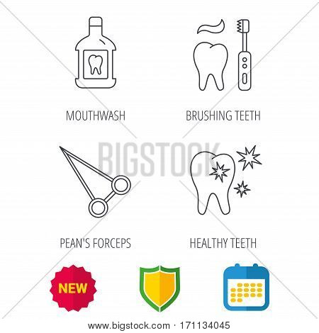 Mouthwash, healthy teeth and peans forceps icons. Brushing teeth linear sign. Shield protection, calendar and new tag web icons. Vector