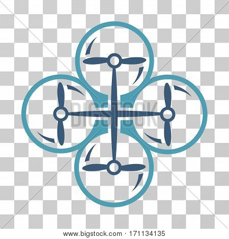 Drone Screws icon. Vector illustration style is flat iconic bicolor symbol cyan and blue colors transparent background. Designed for web and software interfaces.