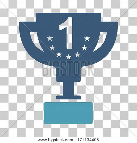 First Prize Cup icon. Vector illustration style is flat iconic bicolor symbol cyan and blue colors transparent background. Designed for web and software interfaces.