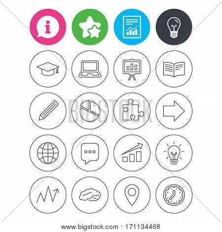 Information, light bulb and report signs. Education icons. Graduation cap, pencil and book symbols. Notebook, presentation and speech bubble thin outline signs. Pie chart, piece of puzzle and arrow
