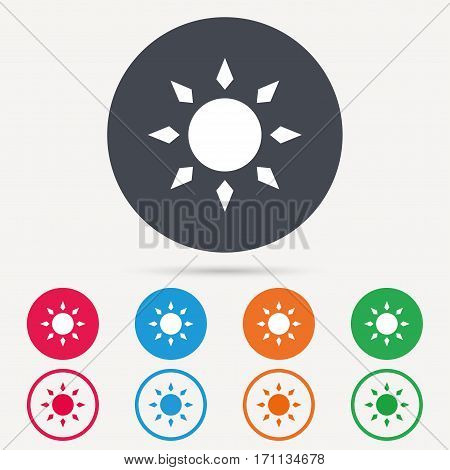 Sun icon. Sunny weather symbol. Round circle buttons. Colored flat web icons. Vector