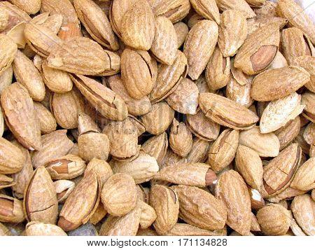 Dried almonds on bazaar Carmel in Tel Aviv Israil June 7 2012