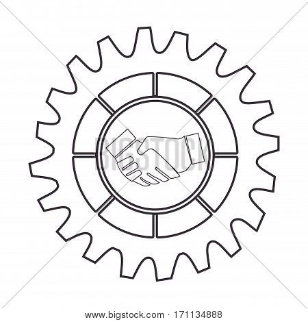 silhouette border with gear wheels shape and shake hands vector illustration