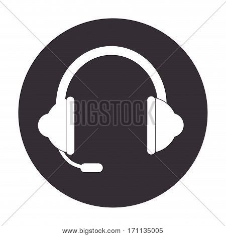 headset stereo sound in round frame vector illustration
