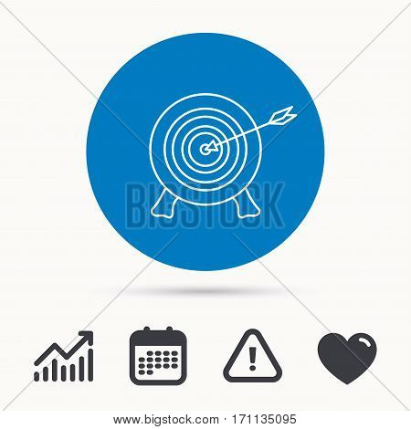 Target with arrow icon. Archery aiming sign. Professional shooter sport symbol. Calendar, attention sign and growth chart. Button with web icon. Vector