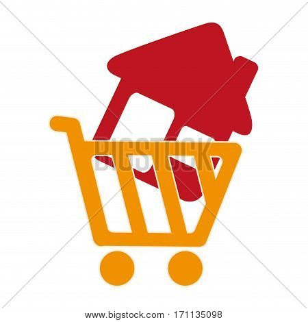 colorful silhouette shopping cart with house icon vector illustration
