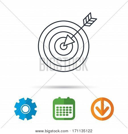 Target with arrow icon. Dart aim sign. Calendar, cogwheel and download arrow signs. Colored flat web icons. Vector