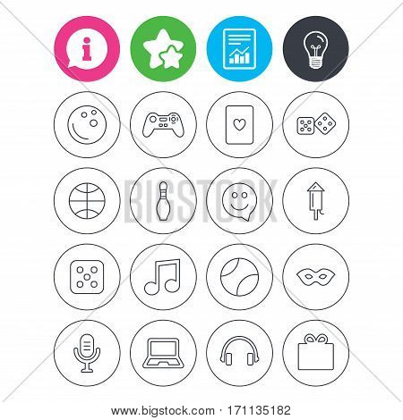 Information, light bulb and report signs. Entertainment icons. Game console joystick, notebook and microphone symbols. Poker playing card, dice and mask thin outline signs. Vector