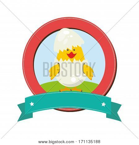 circular border with label and Chick in egg shell vector illustration