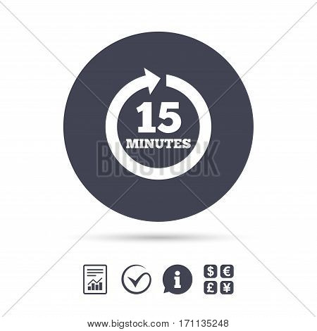 Every 15 minutes sign icon. Full rotation arrow symbol. Report document, information and check tick icons. Currency exchange. Vector