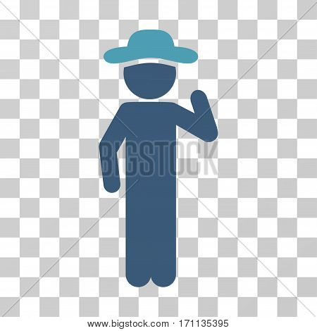 Gentleman Opinion icon. Vector illustration style is flat iconic bicolor symbol cyan and blue colors transparent background. Designed for web and software interfaces.