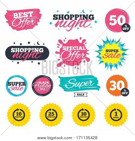 Sale shopping banners. Special offer splash. Every 10, 25, 30 minutes and 1 hour icons. Full rotation arrow symbols. Iterative process signs. Web badges and stickers. Best offer. Vector