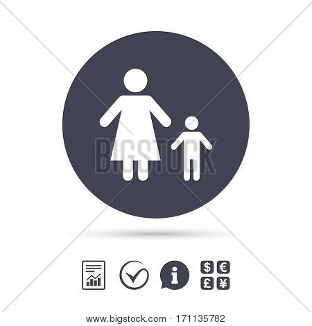 One-parent family with one child sign icon. Mother with son symbol. Report document, information and check tick icons. Currency exchange. Vector