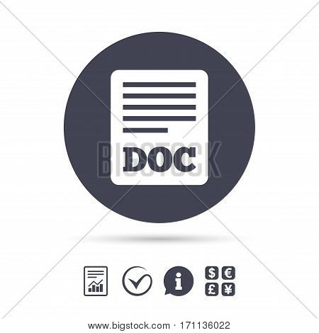 File document icon. Download doc button. Doc file symbol. Report document, information and check tick icons. Currency exchange. Vector