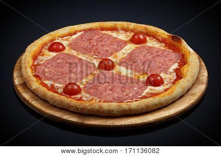 Pizza ham and cheese, mozzarella, oregano on a black background