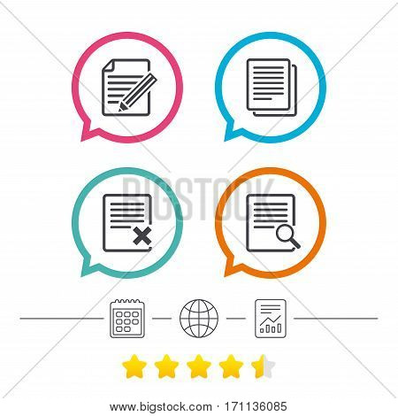 File document icons. Search or find symbol. Edit content with pencil sign. Remove or delete file. Calendar, internet globe and report linear icons. Star vote ranking. Vector
