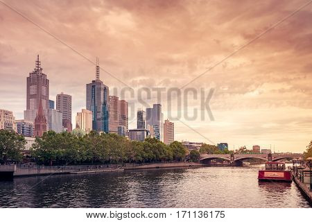 Melbourne Australia - December 27 2016: Melbourne City skyscrapers viewed across the Yarra river Victoria