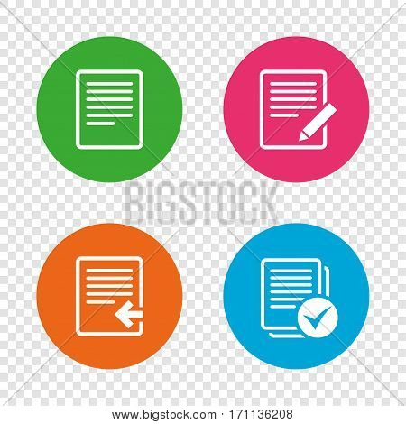 File document icons. Upload file symbol. Edit content with pencil sign. Select file with checkbox. Round buttons on transparent background. Vector