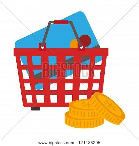 colorful shopping cart with coins and credit card vector illustration