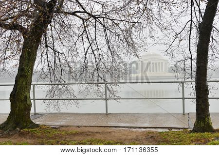 Washington DC in Spring - Jefferson Memorial in a rainy day