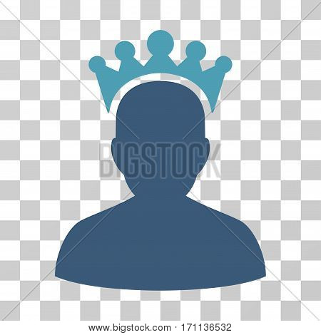 King icon. Vector illustration style is flat iconic bicolor symbol cyan and blue colors transparent background. Designed for web and software interfaces.