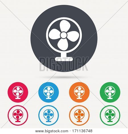 Ventilator icon. Air ventilation or fan symbol. Round circle buttons. Colored flat web icons. Vector