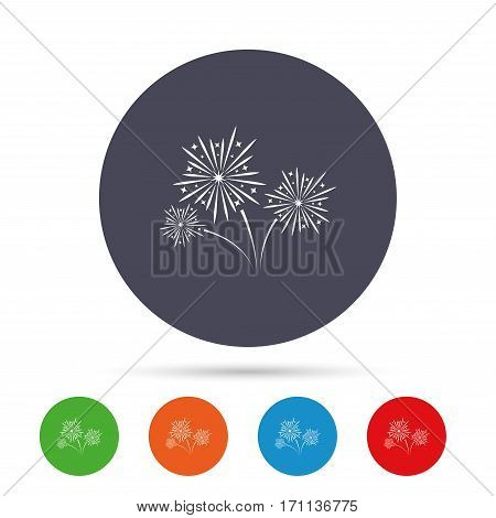 Fireworks sign icon. Explosive pyrotechnic show symbol. Round colourful buttons with flat icons. Vector