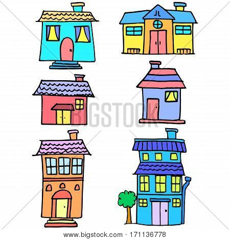 Doodle of house colorful set vector collection stock