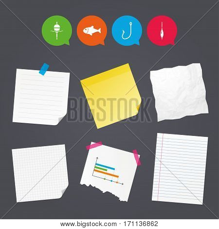 Business paper banners with notes. Fishing icons. Fish with fishermen hook sign. Float bobber symbol. Sticky colorful tape. Speech bubbles with icons. Vector