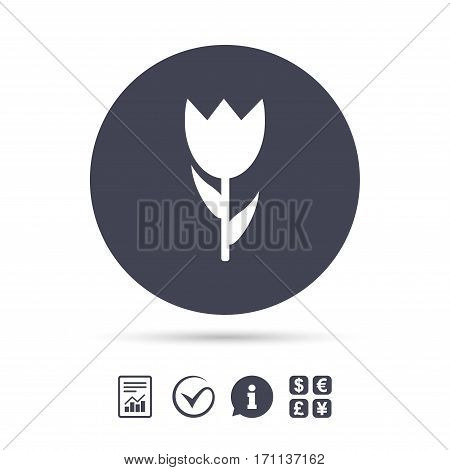 Flower sign icon. Rose symbol. Macro. Report document, information and check tick icons. Currency exchange. Vector