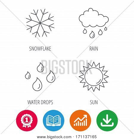 Snowflake, sun and rain icons. Water drops linear sign. Award medal, growth chart and opened book web icons. Download arrow. Vector