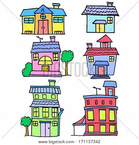 Collection stock of house colorful cartoon vector art