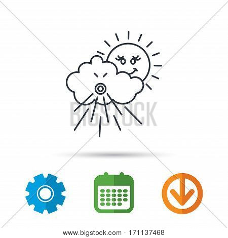 Wind icon. Cloud with sun and storm sign. Strong wind or tempest symbol. Calendar, cogwheel and download arrow signs. Colored flat web icons. Vector