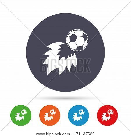 Football fireball sign icon. Soccer Sport symbol. Round colourful buttons with flat icons. Vector