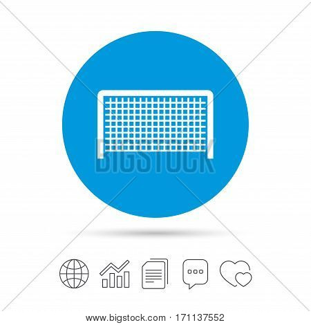 Football gate sign icon. Soccer Sport goalkeeper symbol. Copy files, chat speech bubble and chart web icons. Vector