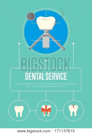 Dental service banner. Round teeth icons and tooth implant with crosswise instruments on blue background. Dentistry vector illustration. Healthcare and tooth care. Dental implantation concept