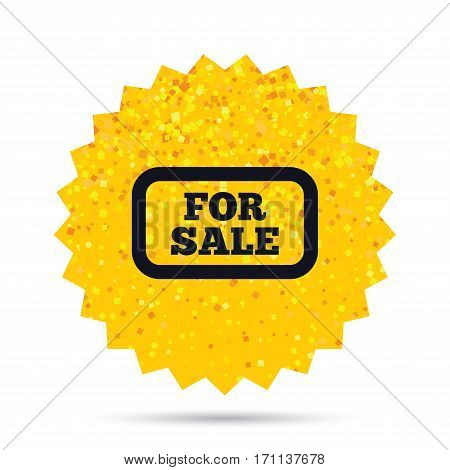 Gold glitter web button. For sale sign icon. Real estate selling. Rich glamour star design. Vector
