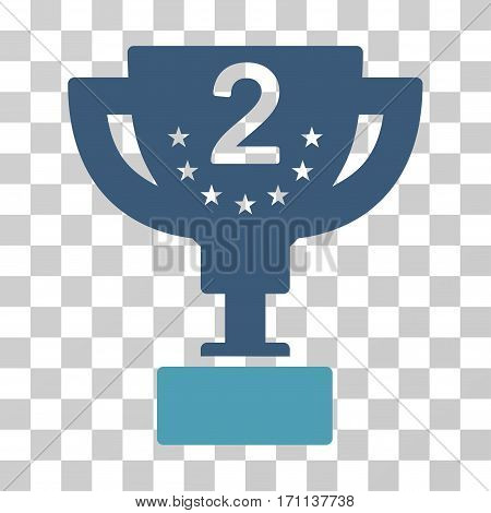 Second Prize Cup icon. Vector illustration style is flat iconic bicolor symbol cyan and blue colors transparent background. Designed for web and software interfaces.