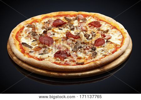 Pizza Assorted Meat, beef, bacon, pork, mozzarella, chicken breast on a black background