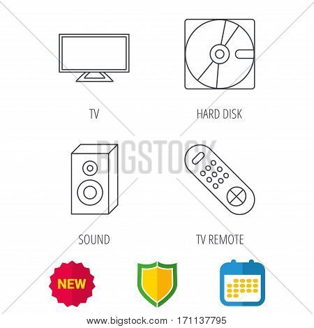 Sound, TV remote and hard disk icons. Widescreen TV linear sign. Shield protection, calendar and new tag web icons. Vector