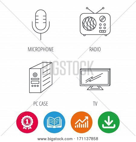 TV, retro radio and microphone icons. PC case linear sign. Award medal, growth chart and opened book web icons. Download arrow. Vector
