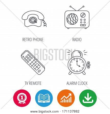 Retro phone, radio and TV remote icons. Alarm clock linear sign. Award medal, growth chart and opened book web icons. Download arrow. Vector