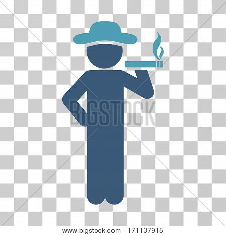 Smoking Gentleman icon. Vector illustration style is flat iconic bicolor symbol cyan and blue colors transparent background. Designed for web and software interfaces.