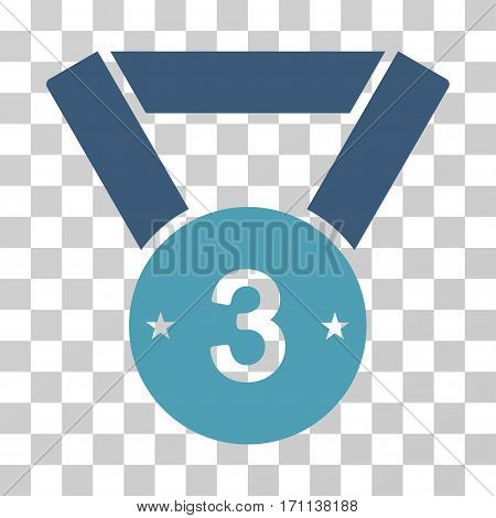 Third Medal icon. Vector illustration style is flat iconic bicolor symbol cyan and blue colors transparent background. Designed for web and software interfaces.