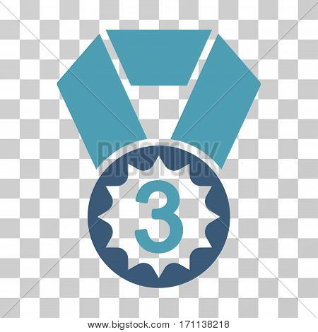 Third Place icon. Vector illustration style is flat iconic bicolor symbol cyan and blue colors transparent background. Designed for web and software interfaces.