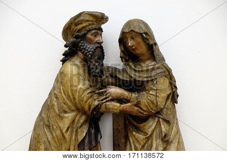 ZAGREB, CROATIA - FEBRUARY 17: Meeting of Joachim and Ann, years 1433-23, from the Church of St. Vitus in Vrbovec, exhibited in the Museum of Arts and Crafts in Zagreb, on February 17, 2015.