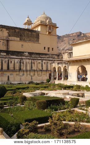 JAIPUR, INDIA - FEBRUARY 16: Beautiful gardens in Amber Fort, Jaipur, Rajasthan, India, on February 16, 2016.